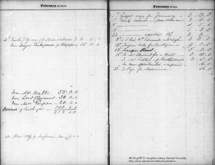 Income and expenses for February 1858