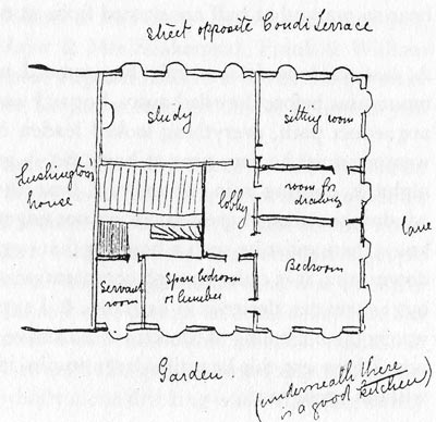 Lear's flat in Condi Terrace, from a letter to Ann, 13 October 1856 (Lear 1988, 91).